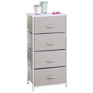 Save on mdesign vertical furniture storage tower sturdy steel frame wood top easy pull fabric bins organizer unit for bedroom hallway entryway closets chevron zig zag print 4 drawers taupe
