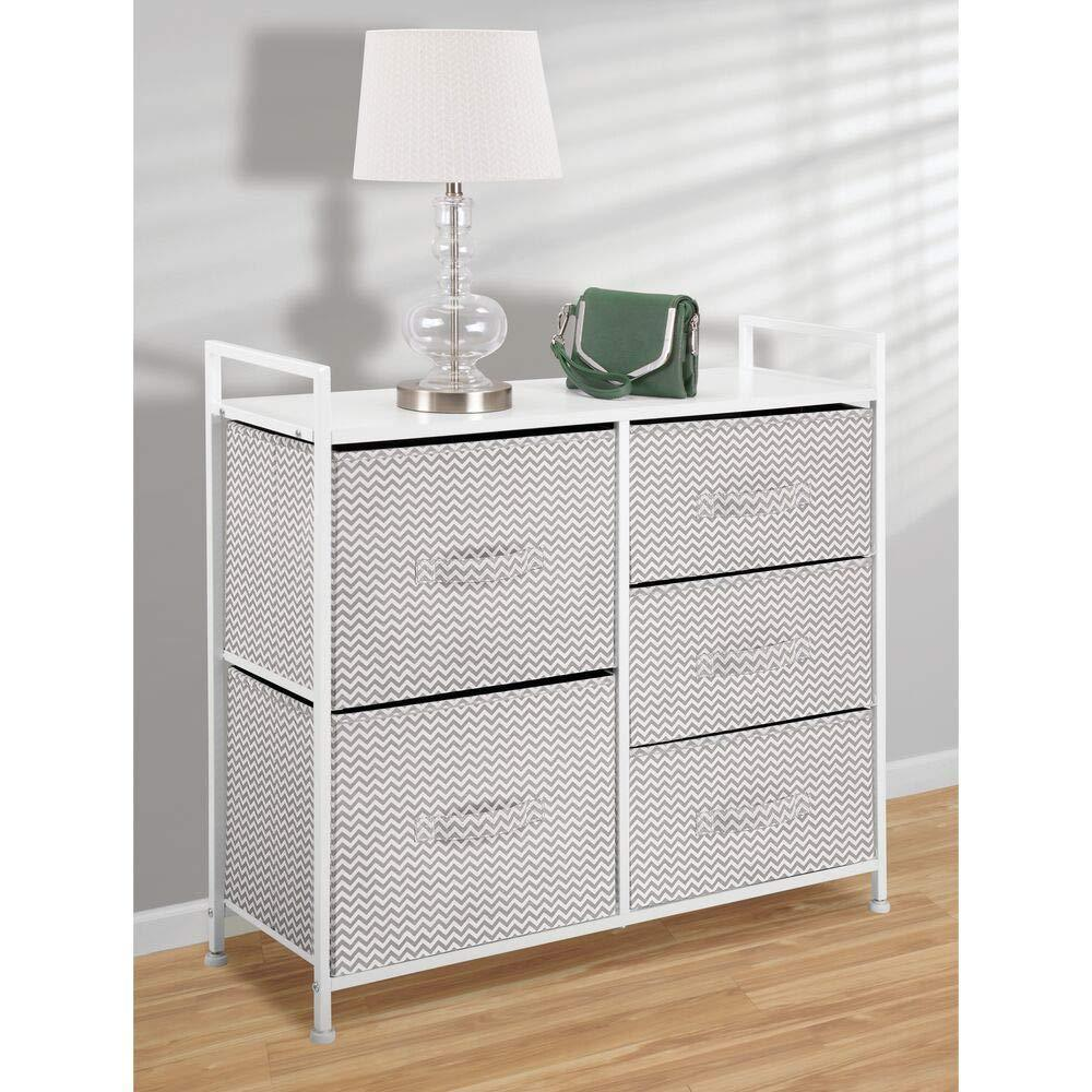 Top mdesign wide dresser storage tower sturdy steel frame wood top easy pull fabric bins organizer unit for bedroom hallway entryway closets chevron print 5 drawers taupe white