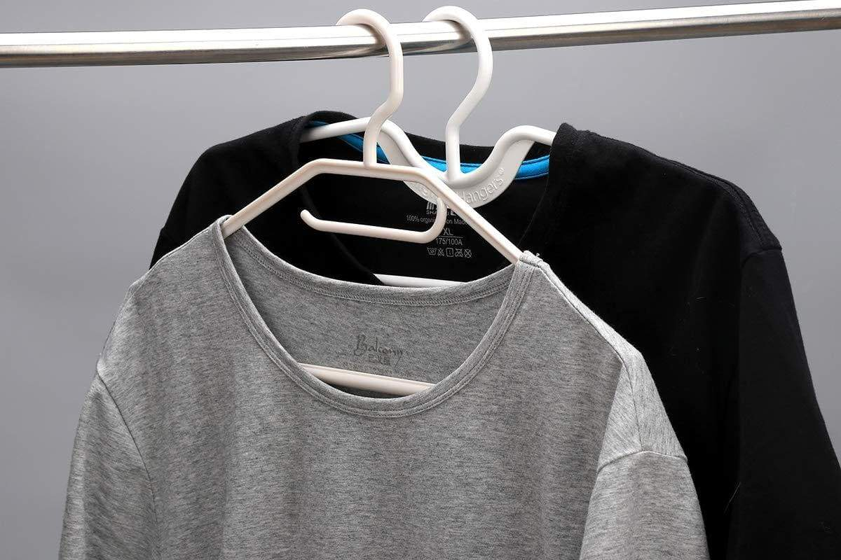 On amazon higher hangers space saving clothes hangers heavy duty closet organizers helps reduce wrinkles and clutter great for dorms and increasing closet space 40 pack white plastic
