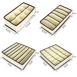 Shop for aitmexcn closet underwear organizer foldable storage box drawer divider kit for socks panties bra ties clothing set of 4 beige