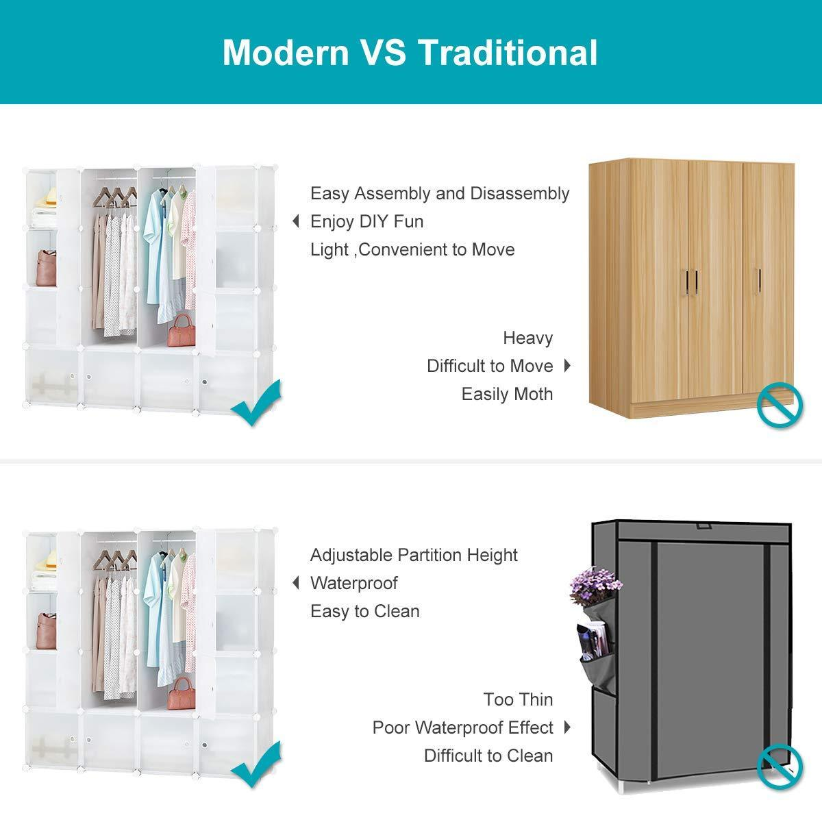 New honey home modular storage cube closet organizers portable plastic diy wardrobes cabinet shelving with easy closed doors for bedroom office kitchen garage 16 cubes white