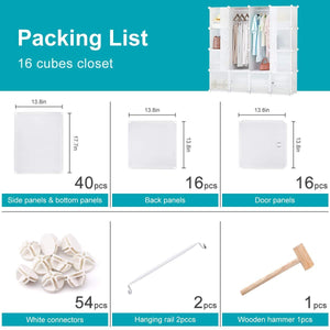Latest honey home modular storage cube closet organizers portable plastic diy wardrobes cabinet shelving with easy closed doors for bedroom office kitchen garage 16 cubes white