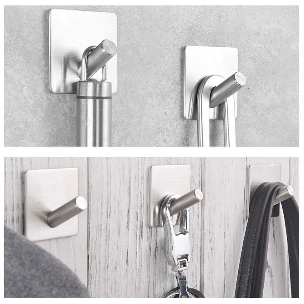 Shop here heavy duty wall hooks 304 stainless steel hook wall mount for home bathroom kitchen utensils damage free utility 3m self stick hooks holds6 pounds waterproof hanger for towel keys coat bags 4 pcs