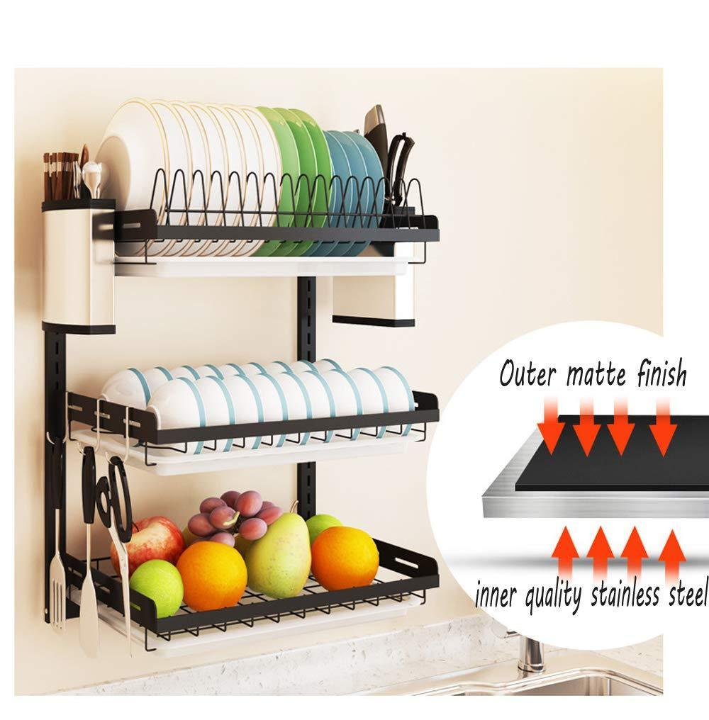Buy ctystallove 3 tier black stainless steel dish drying rack fruit vegetable storage basket with drainboard and hanging chopsticks cage knife holder wall mounted kitchen supplies shelf utensils organizer