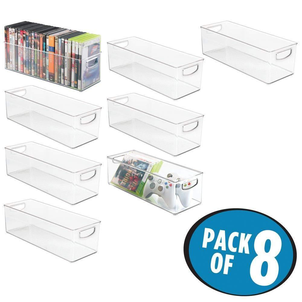 Exclusive mdesign plastic stackable household storage organizer container bin with handles for media consoles closets cabinets holds dvds video games gaming accessories head sets 8 pack clear