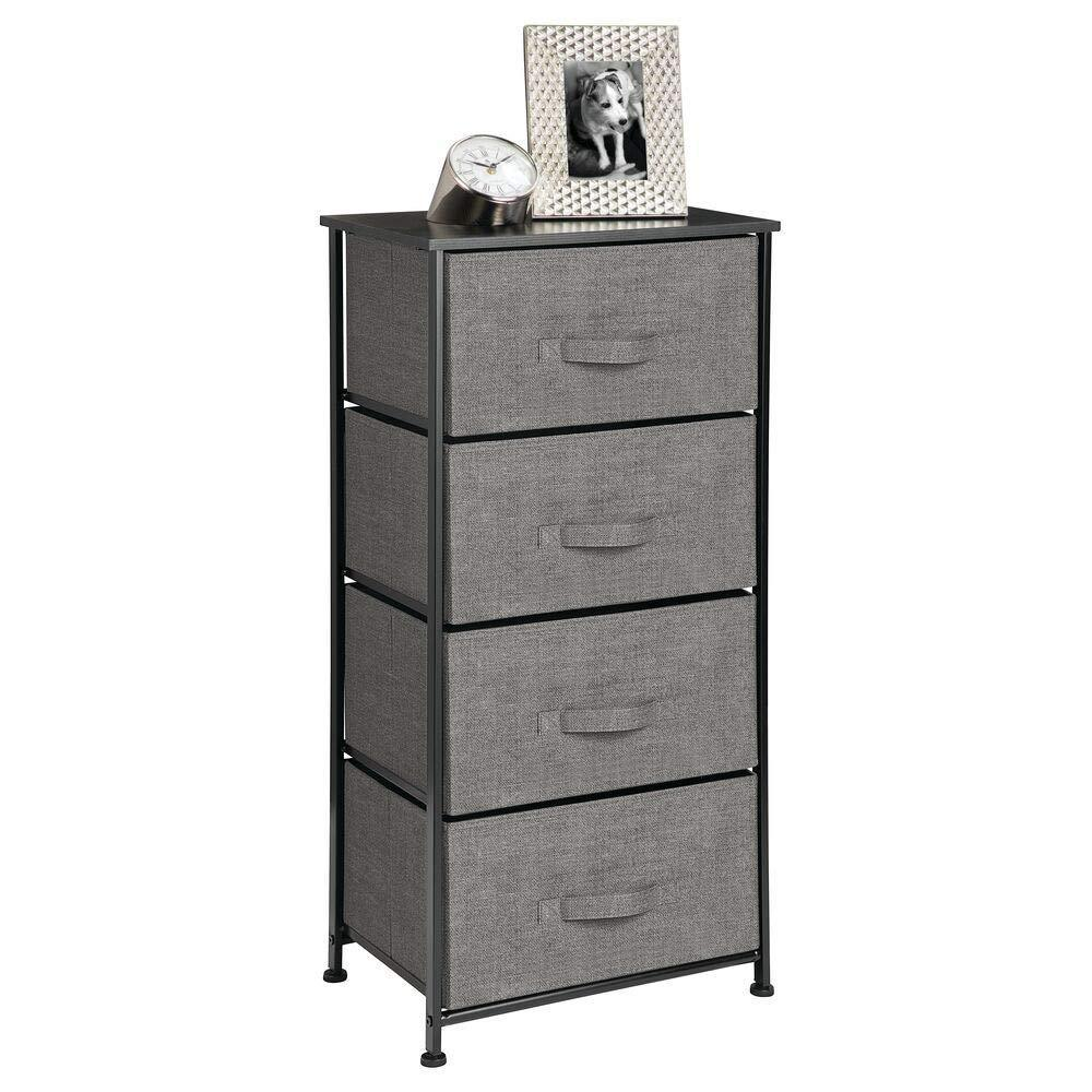 Buy mdesign vertical dresser storage tower sturdy steel frame wood top easy pull fabric bins organizer unit for bedroom hallway entryway closets textured print 4 drawers charcoal gray black