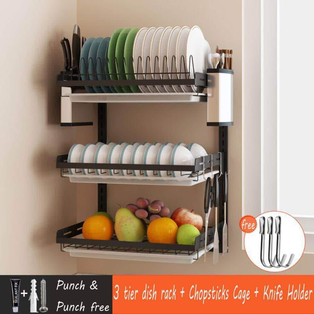Cheap ctystallove 3 tier black stainless steel dish drying rack fruit vegetable storage basket with drainboard and hanging chopsticks cage knife holder wall mounted kitchen supplies shelf utensils organizer