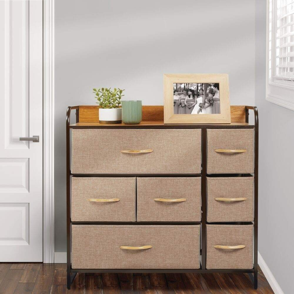 Storage organizer mdesign wide dresser storage chest sturdy steel frame wood top easy pull fabric bins organizer unit for bedroom hallway entryway closet textured print 7 drawers coffee espresso brown