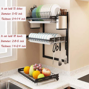 Buy now ctystallove 3 tier black stainless steel dish drying rack fruit vegetable storage basket with drainboard and hanging chopsticks cage knife holder wall mounted kitchen supplies shelf utensils organizer