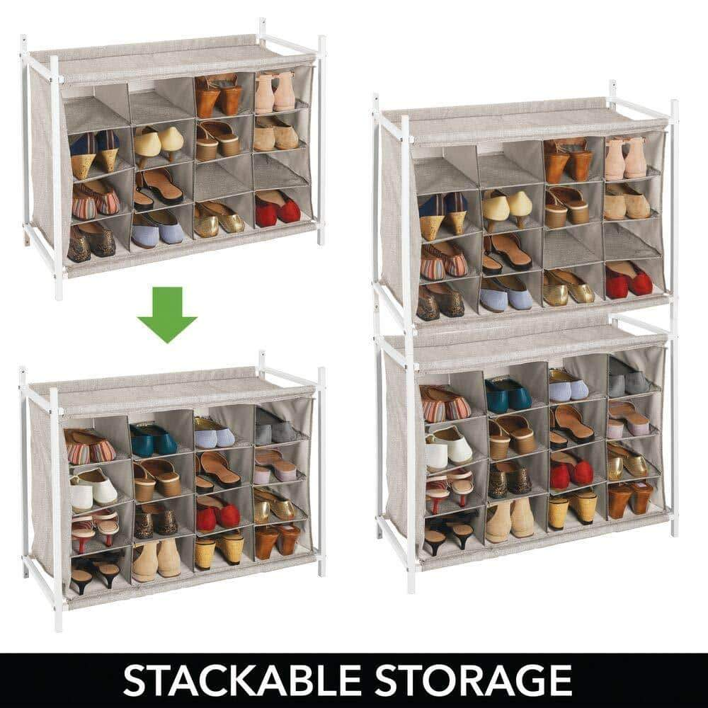 Order now mdesign soft fabric shoe rack holder organizer 16 cube storage shelf for closet entryway mudroom garage kids playroom metal frame easy assembly closet organization linen white
