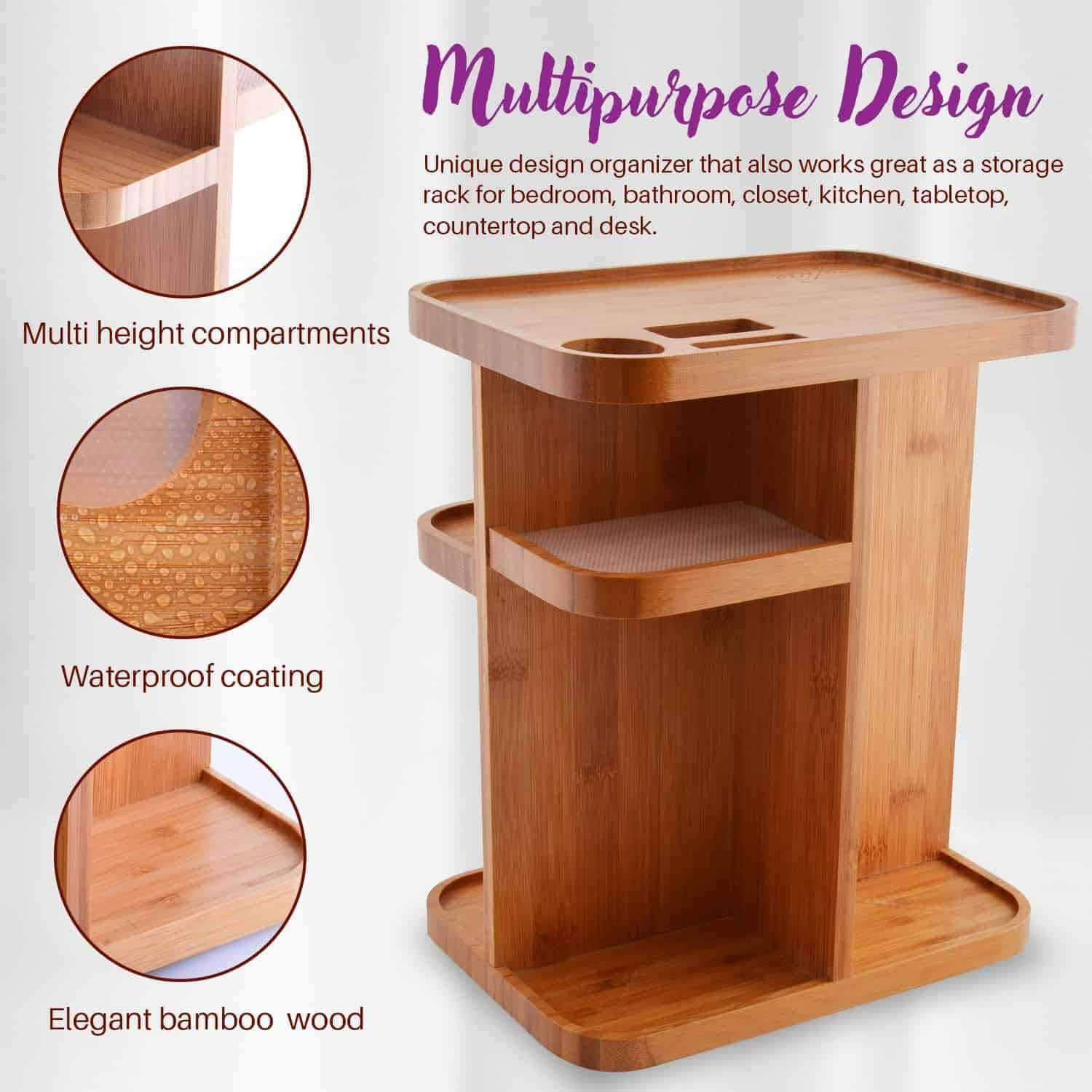 Home refine 360 bamboo cosmetic organizer multi function storage carousel for your vanity bathroom closet kitchen tabletop countertop and desk