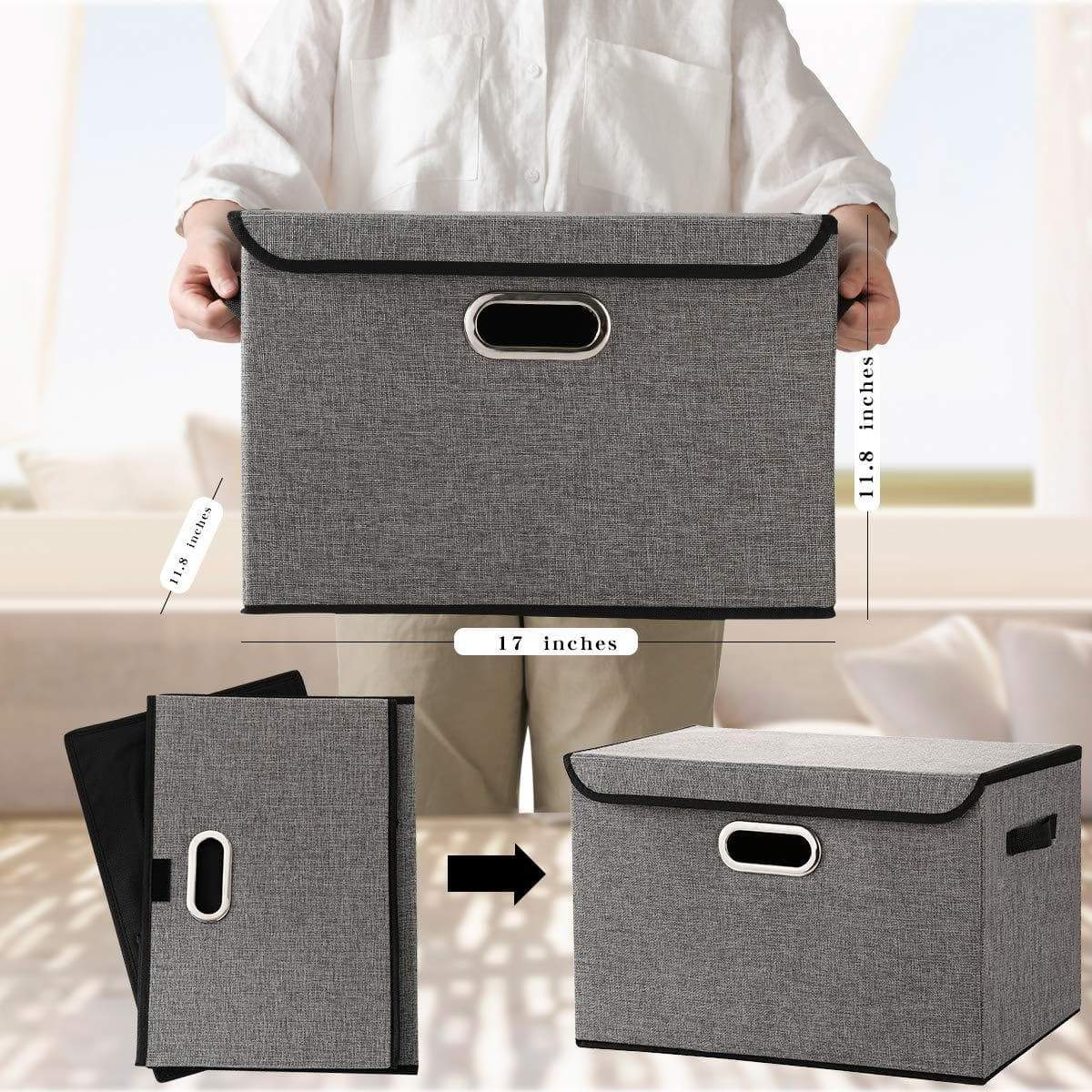 Discover large foldable storage box bin with lids2 pack no smell stackable linen fabric storage container organizers with handles for home bedroom closet nursery office gray color
