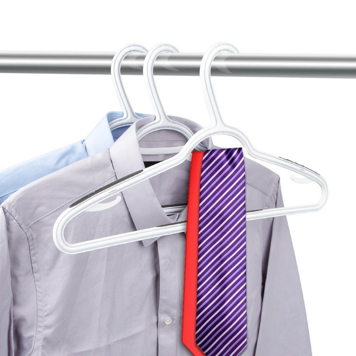 Try timmy plastic hangers 40 pack heavy duty clothes hangers with built in grip non slip pads space saving super lightweight organizer for closet wardrobe perfect for blouses shirts and morewhite grey