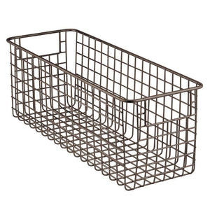 Get mdesign farmhouse decor metal wire food storage organizer bin basket with handles for kitchen cabinets pantry bathroom laundry room closets garage 16 x 6 x 6 8 pack bronze
