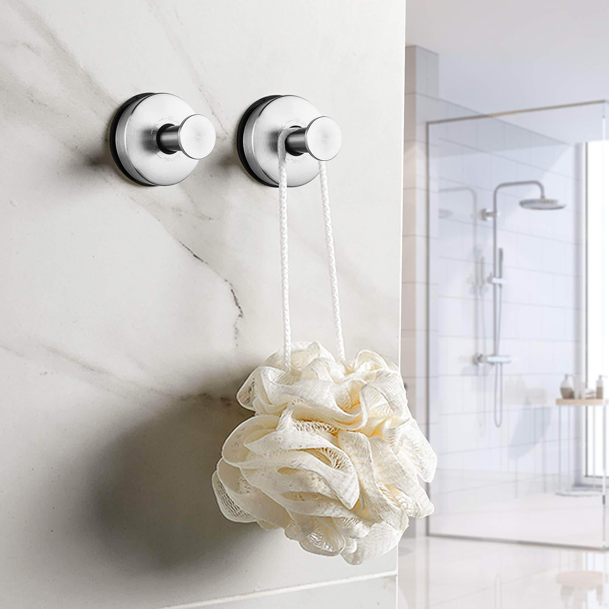 Online shopping jomola 2pcs bathroom towel hook suction cup holder utility shower hooks hanger for towel storage kitchen utensil stainless steel vacuum suction cup hooks brushed finish
