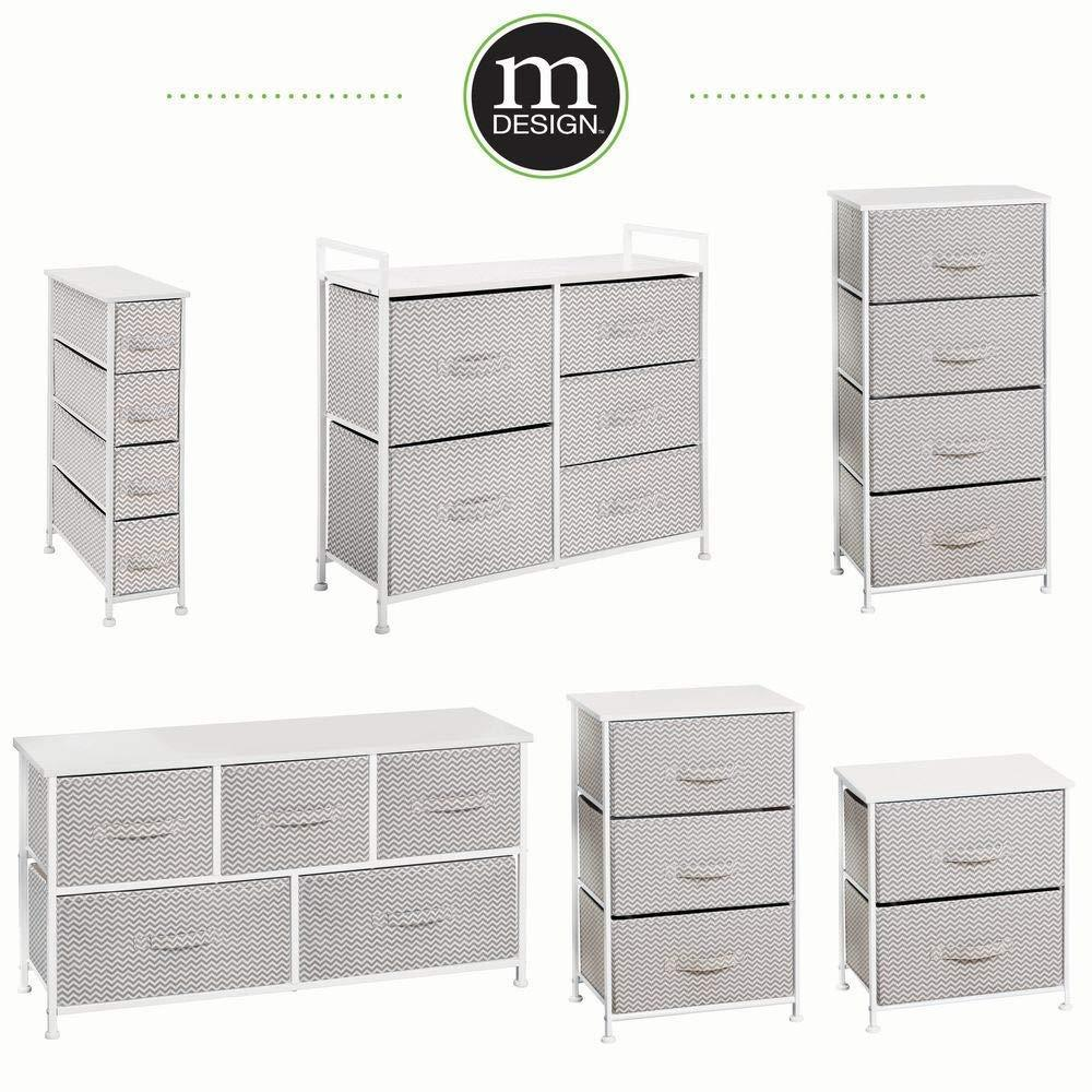 Storage mdesign wide dresser storage tower sturdy steel frame wood top easy pull fabric bins organizer unit for bedroom hallway entryway closets chevron print 5 drawers taupe white
