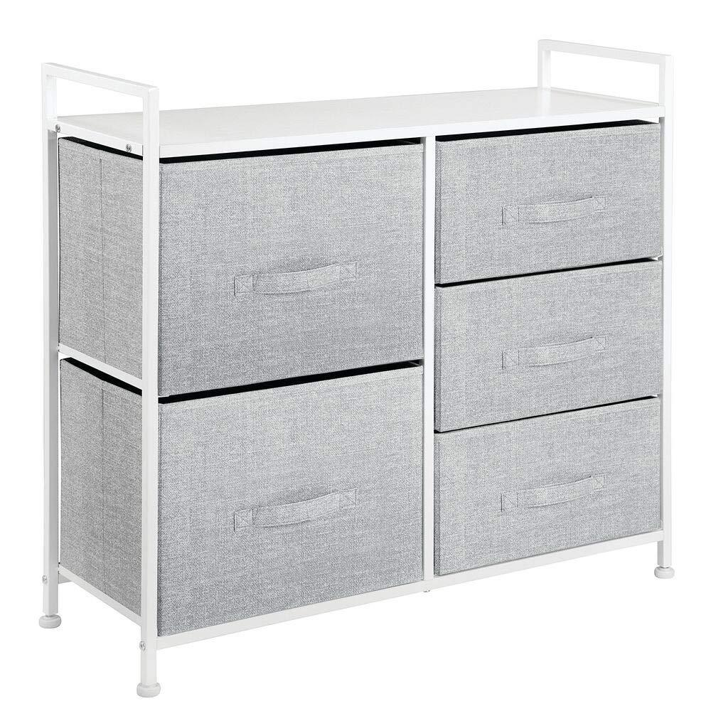Budget friendly mdesign wide dresser storage tower sturdy steel frame wood top easy pull fabric bins organizer unit for bedroom hallway entryway closets textured print 5 drawers gray white