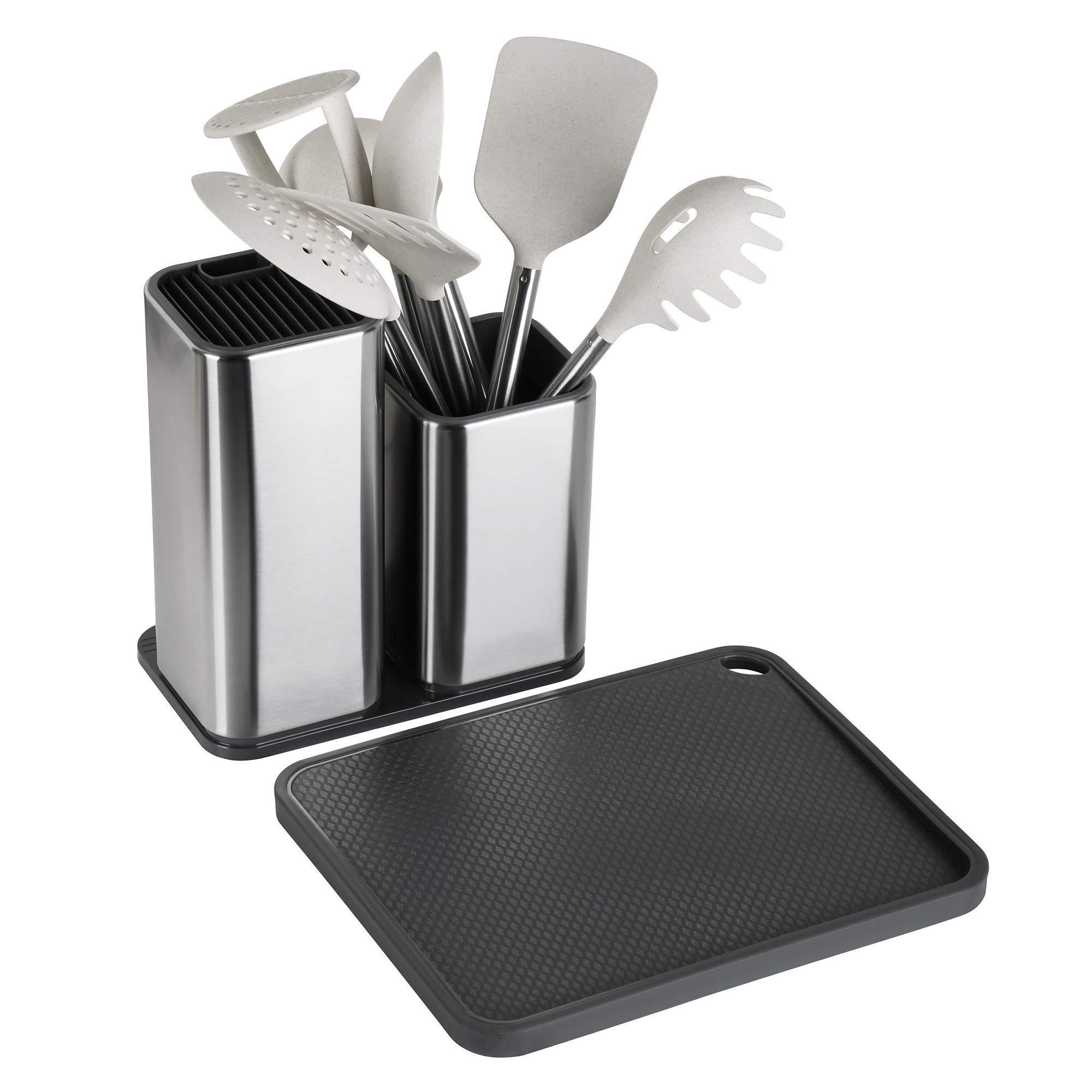 Buy elfrhino utensils holder with cooking utensils set knives block utensils container flatware caddy cookware cutlery multipurpose kitchen storage crock slotted spoon spatula spaghetti server set of 10