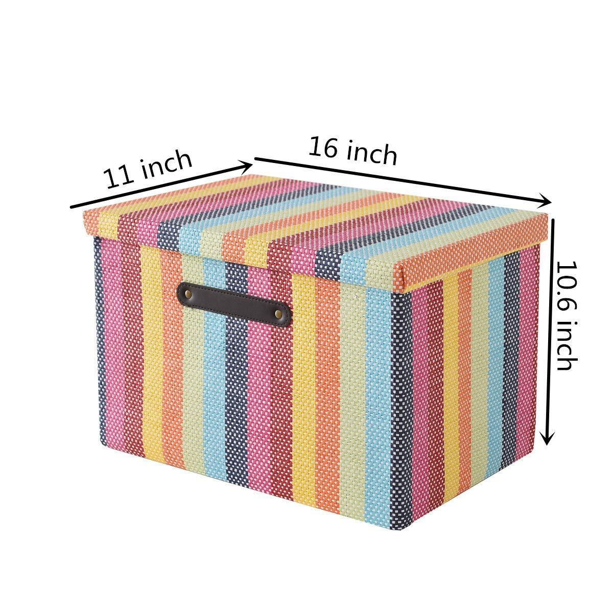 Discover large fabric storage box with lid and leather handles by tegance decorative collapsible storage bin for office home closet toys rainbow color 16x11x10 6 inch 3pack rainbow box