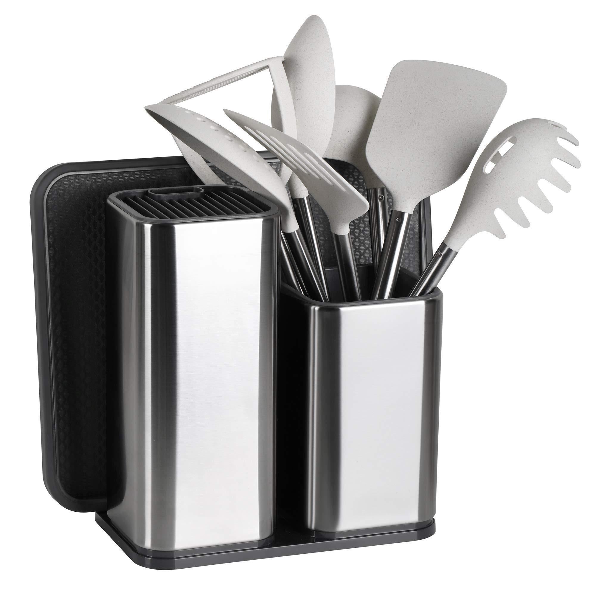 Discover elfrhino utensils holder stainless steel kitchen tools knives holder knives block utensils container utensils crock flatware caddy cookware cutlery utensils holder multipurpose kitchen storage crock