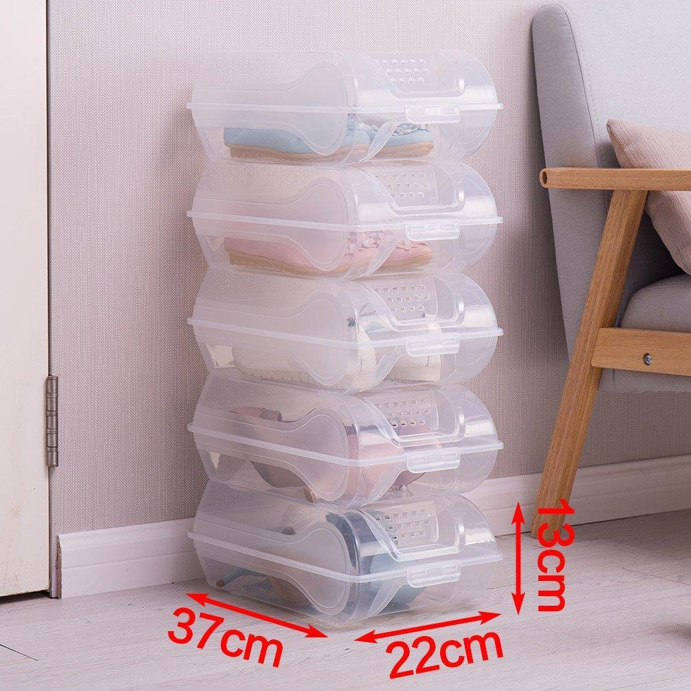 Selection baoyouni clear shoe box closet corner storage case holder dust proof breathable organizer saving space stackable with lid for flats athletic shoes sandals heels sneakers pack of 5