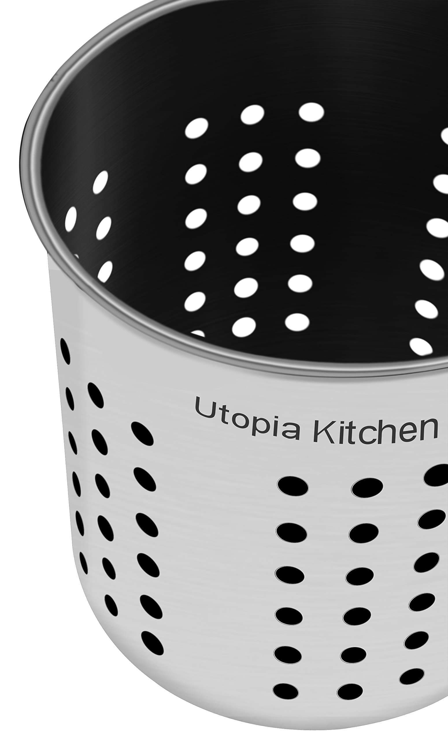 Discover the utopia kitchen utensil holder utensil container 5 x 5 3 utensil crock flatware caddy brushed stainless steel cookware cutlery utensil holder
