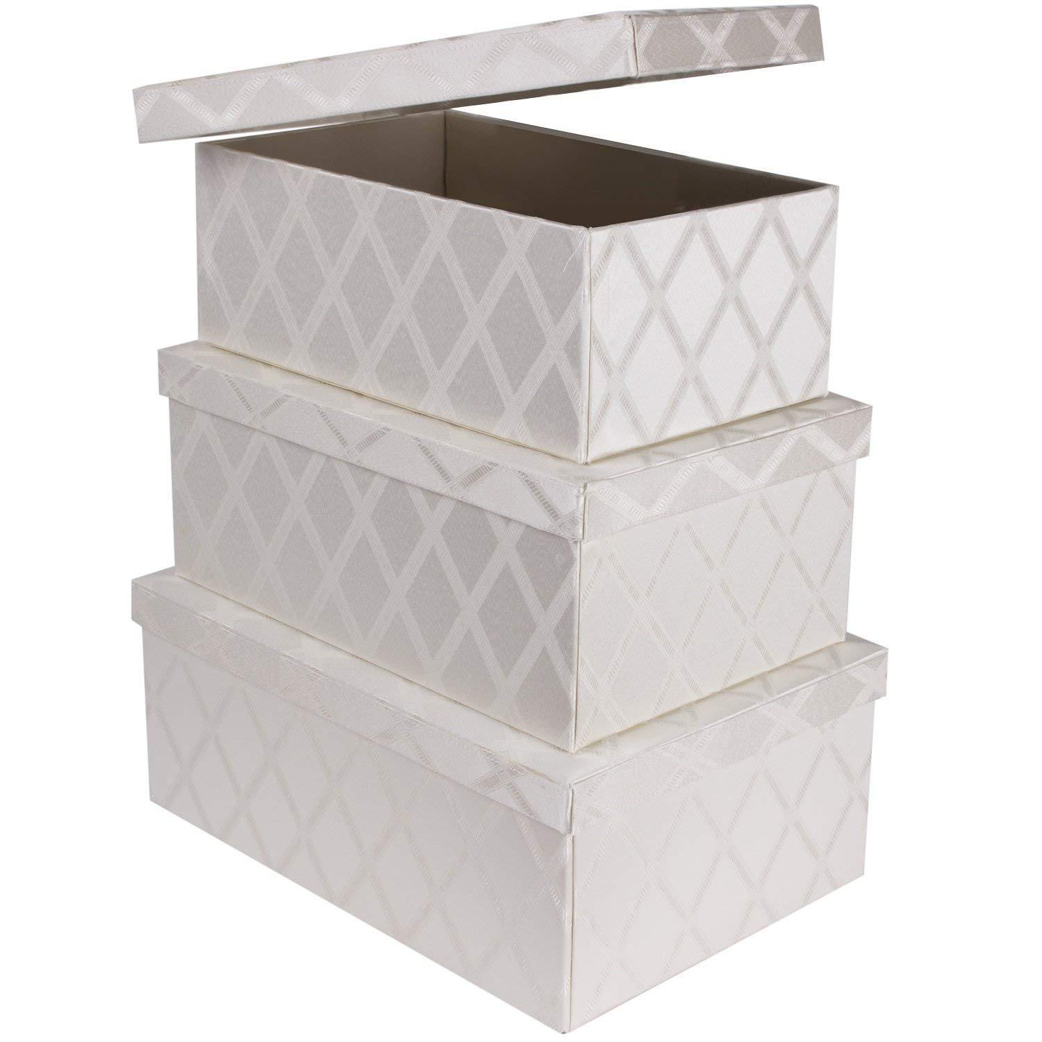 Shop for toys storage bins 3 pcs set fabric decorative storage boxes with lids shelf closet organizer basket decor nesting boxes stylish gift boxes with lids large medium small sizes off white