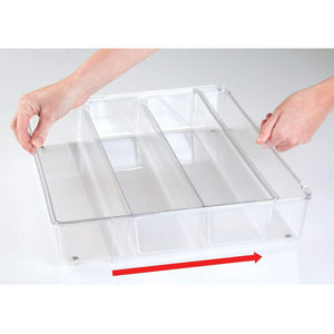 Amazon best mdesign adjustable expandable 4 compartment kitchen cabinet drawer organizer tray divided sections for cutlery serving cooking utensils gadgets bpa free food safe 3 deep pack of 2 clear