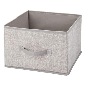 Home mdesign soft fabric closet storage organizer holder cube bin box open top front handle for closet bedroom bathroom entryway office textured print 10 pack linen tan