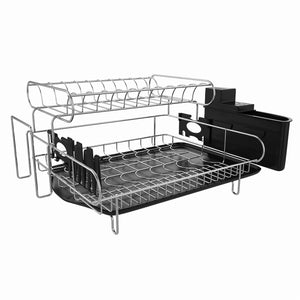 The best professional dish drying rack 2 tier 304 stainless steel dish rack with drainboard microfiber mat kitchen utensil holder