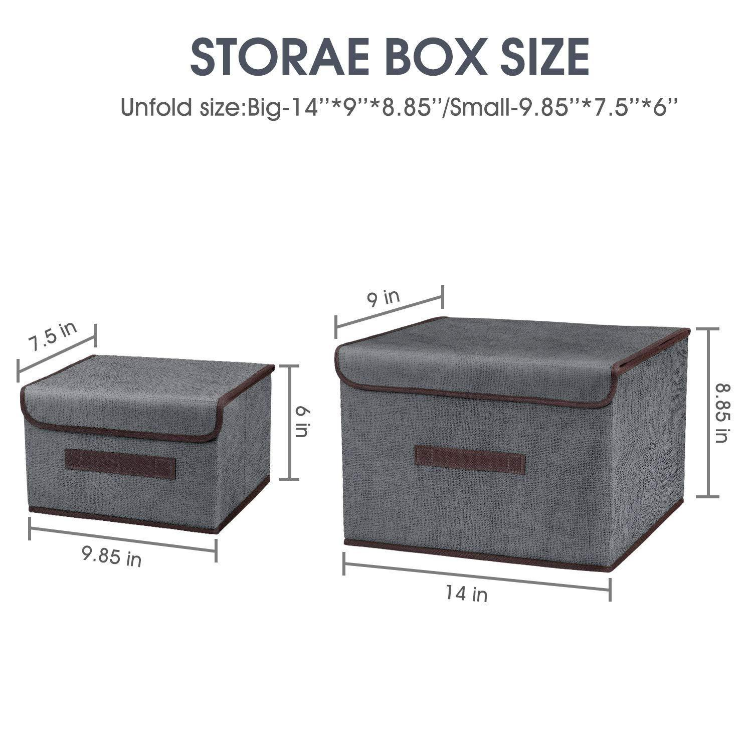Kitchen foldable storage boxes with lids 2 set of linen fabric cubes with handles for shelf closet book kid toy nursery organize grey