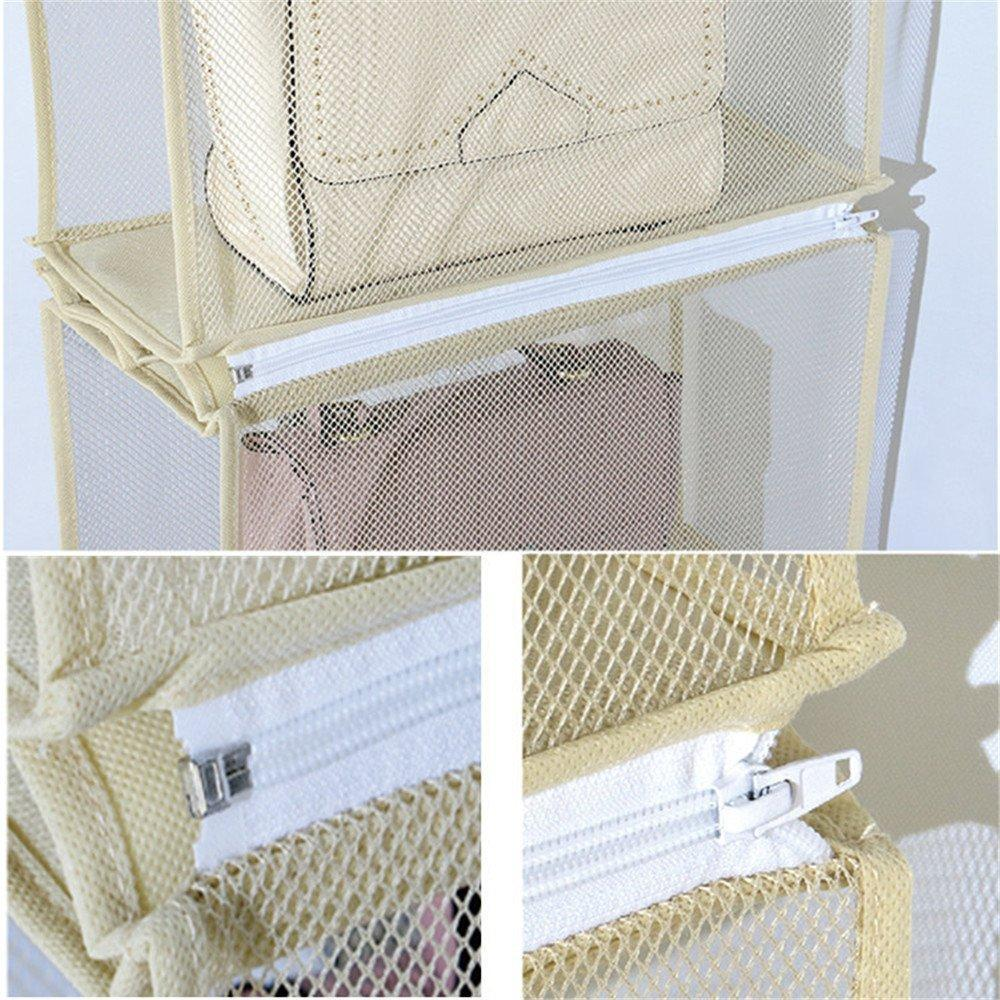Save on zaro 2 in 1 hanging shelf garment organizer for bags clothes 4 shelves practical closet purse storage collapsible space saver accessory breathable mesh net with hooks hanger easy mount gray