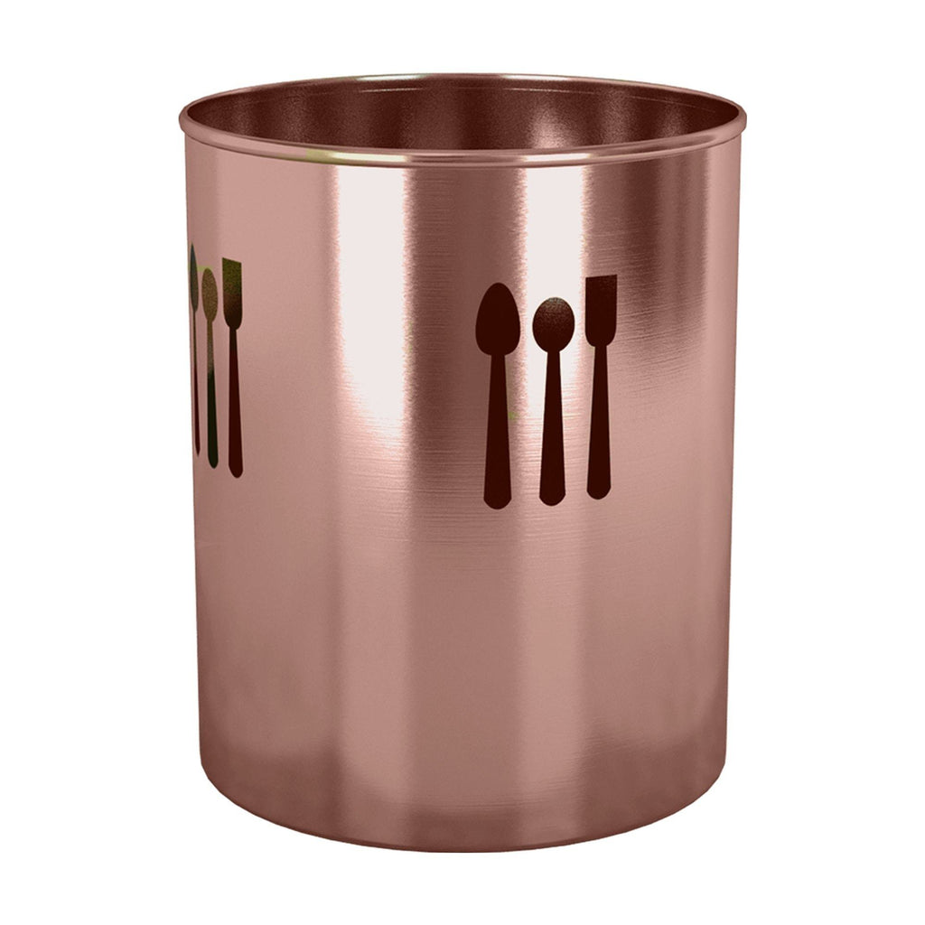 The best nu steel tg uh 16cl utensils holder spoon cutout 4 qtr copper lacquered 7 5 h x 7 5 w x 7 5 d copper color