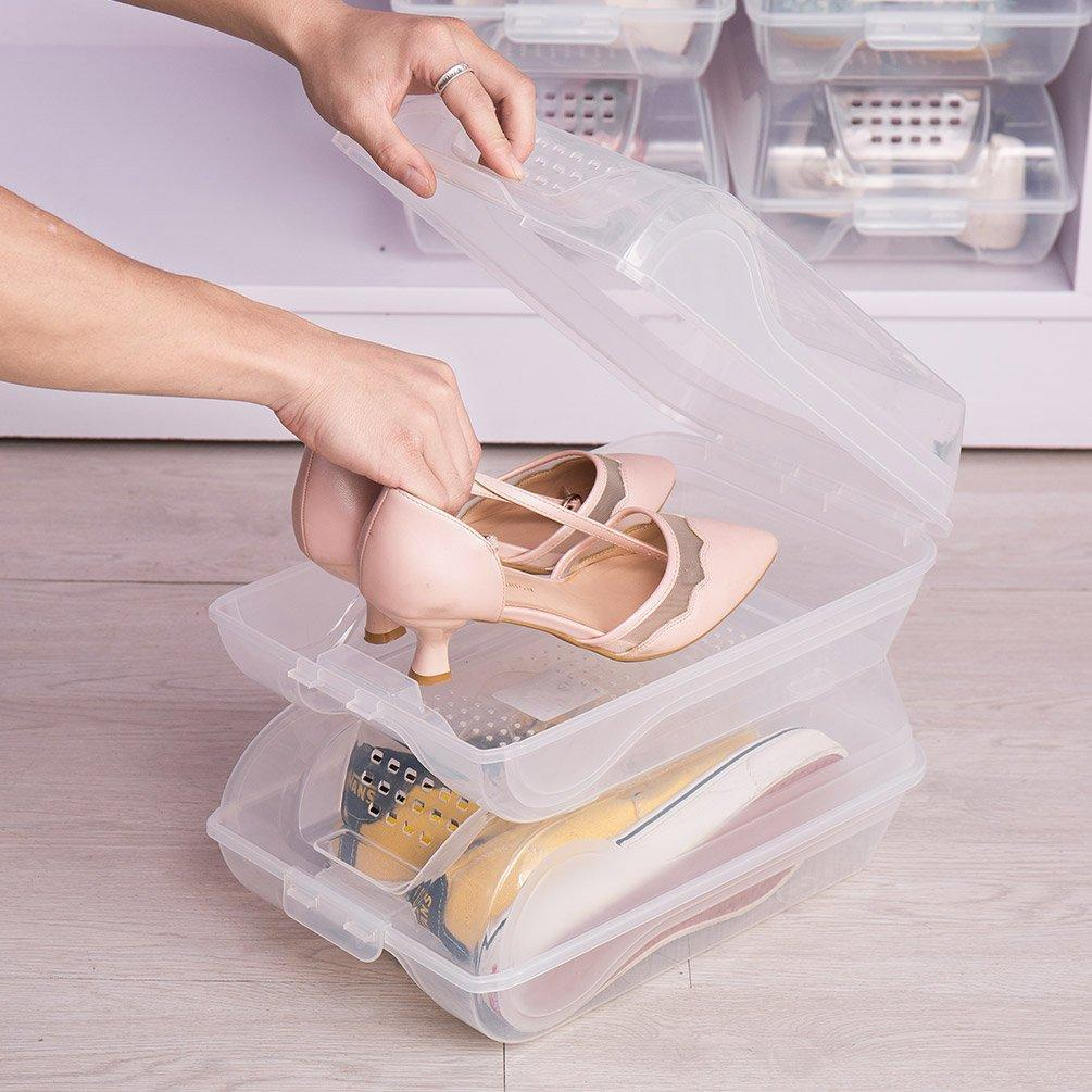 Shop here baoyouni clear shoe box closet corner storage case holder dust proof breathable organizer saving space stackable with lid for flats athletic shoes sandals heels sneakers pack of 5