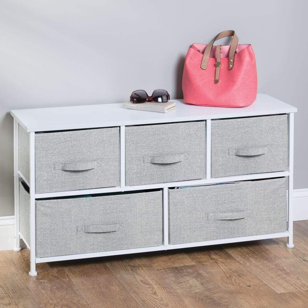 Discover mdesign extra wide dresser storage tower sturdy steel frame wood top easy pull fabric bins organizer unit for bedroom hallway entryway closets textured print 5 drawers gray white