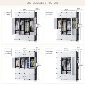 Best yozo closet organizer portable wardrobe cloth storage bedroom armoire cube shelving unit dresser cabinet diy furniture black 20 cubes