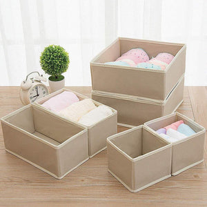 Heavy duty diommell 9 pack foldable cloth storage box closet dresser drawer organizer fabric baskets bins containers divider with drawers for baby clothes underwear bras socks lingerie clothing beige 333