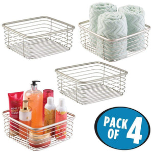 Results mdesign modern bathroom metal wire metal storage organizer bins baskets for vanity towels cabinets shelves closets pantry kitchens home office 9 75 square 4 pack satin