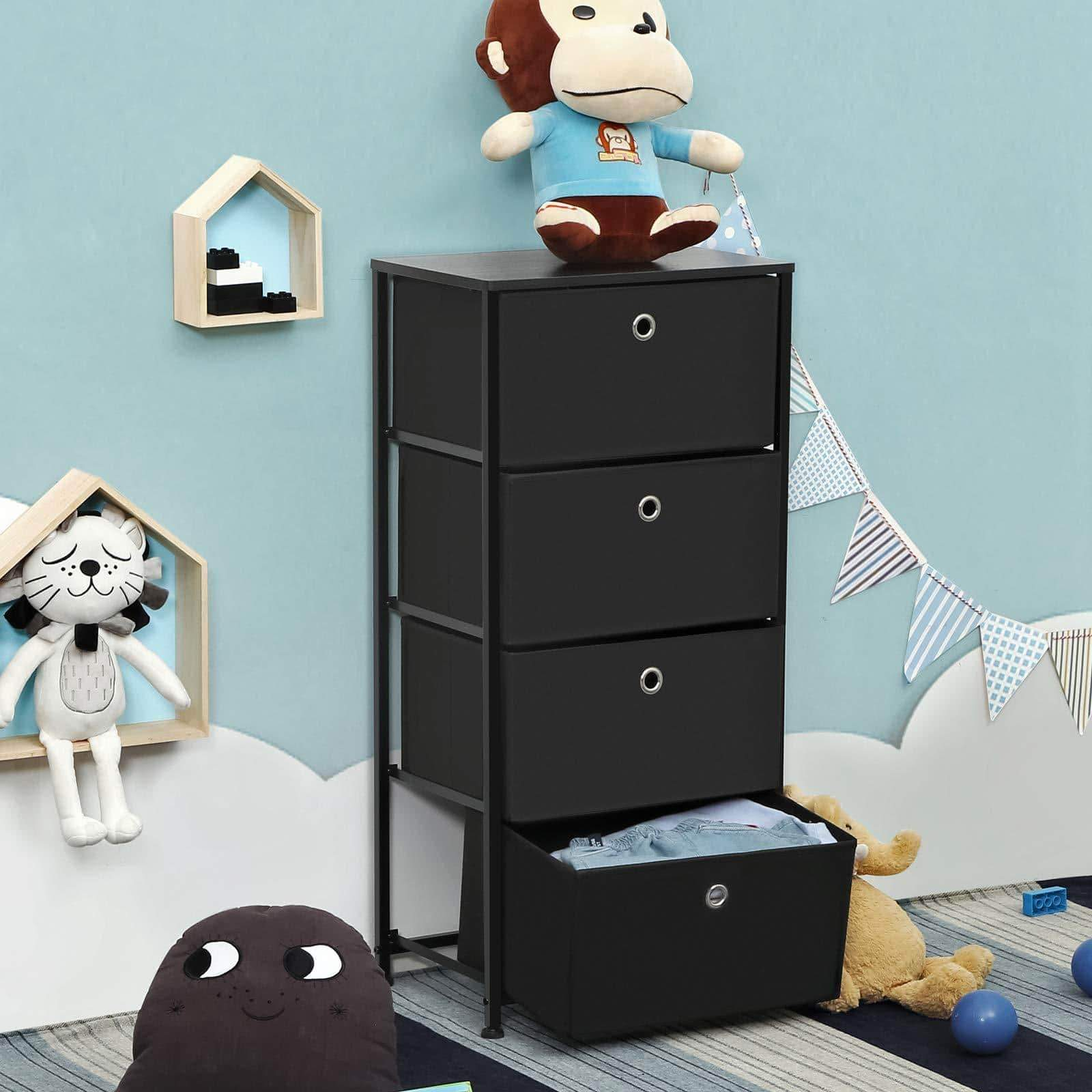 Products songmics 4 tier dresser drawer unit cabinet with 4 easy pull fabric drawers storage organizer with metal frame and wooden tabletop for living room closet hallway black ults04h
