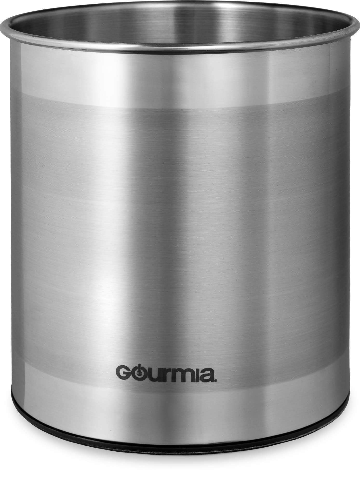Budget gourmia gch9345 rotating kitchen utensil holder spinning stainless steel organizer to store cooking and serving tools dishwasher safe non slip bottom use as caddy