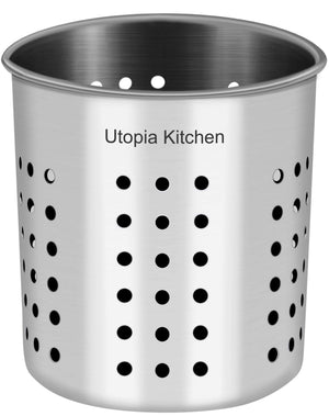 Discover utopia kitchen utensil holder utensil container 5 x 5 3 utensil crock flatware caddy brushed stainless steel cookware cutlery utensil holder