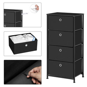 On amazon songmics 4 tier dresser drawer unit cabinet with 4 easy pull fabric drawers storage organizer with metal frame and wooden tabletop for living room closet hallway black ults04h
