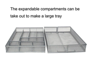 Home esylife expandable kitchen drawer silverware utensils organizer mesh cutlery tray 8 10 compartments