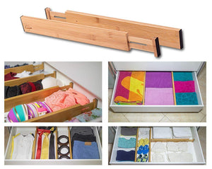 The best drawer dividers bamboo kitchen organizers set of 6 spring loaded drawer divider adjustable expandable drawer organizer best for kitchen bedroom dresser baby drawers closet