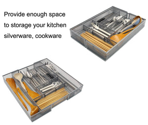Great esylife expandable kitchen drawer silverware utensils organizer mesh cutlery tray 8 10 compartments