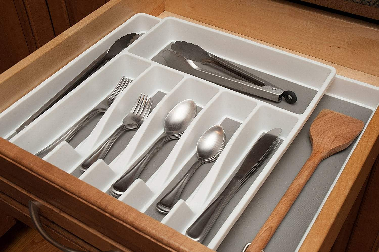 Discover kd organizers 8 slot expandable kitchen or desk drawer organizer large adjustable storage tray for silverware utensils office supplies and more