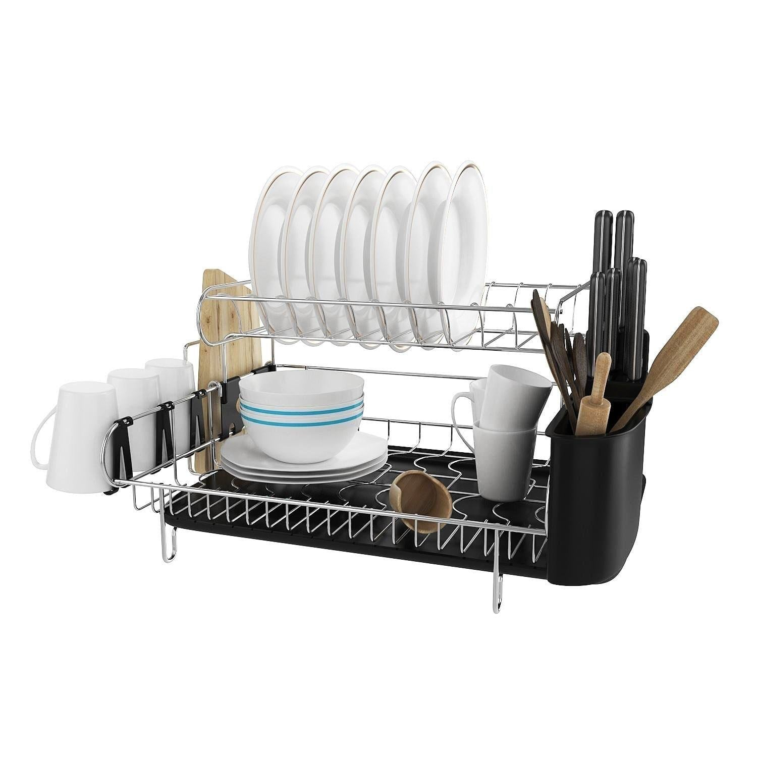 Storage professional dish drying rack 2 tier 304 stainless steel dish rack with drainboard microfiber mat kitchen utensil holder