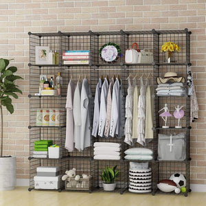 Purchase george danis wire storage cubes metal shelving unit portable closet wardrobe organizer multi use rack modular cubbies black 14 inches depth 5x5 tiers