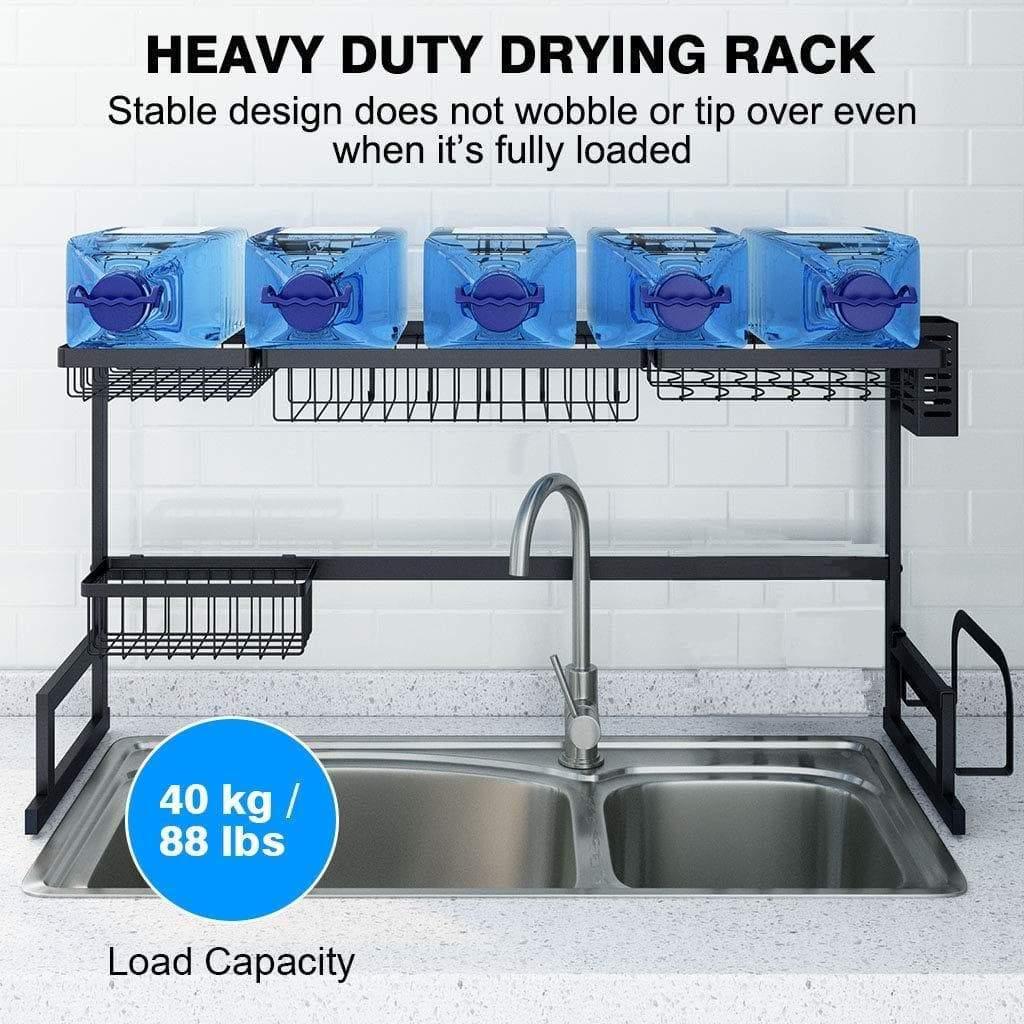 Amazon best ipegtop over the sink stainless steel dish drying rack large dish drainers for kitchen double sink dishes utensils glasses draining shelf storage counter organizer cutlery holder black