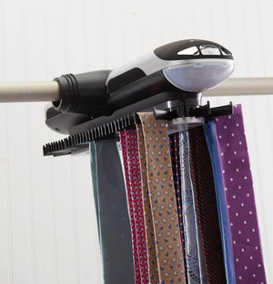 Try storagemaid motorized tie rack organizer for closet with led lights battery operated holds 72 ties and 8 belts includes j hooks for wire shelving bonus tie travel pouch tie clip